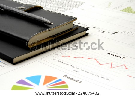 Business chart and pen - stock photo