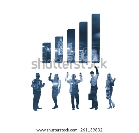 Business chart and people - stock photo