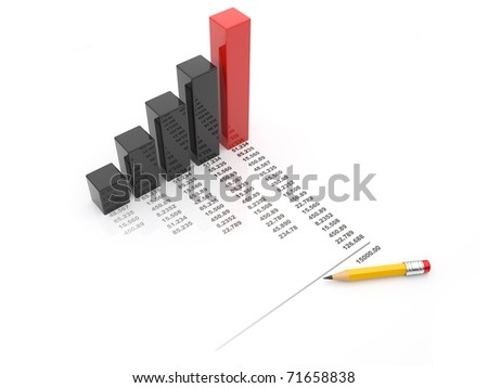 Business chart 3d. diagram isolated - stock photo