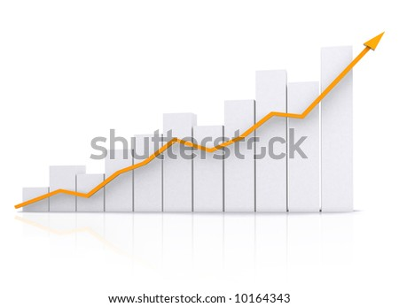 business chart in orange isolated over a white background - stock photo