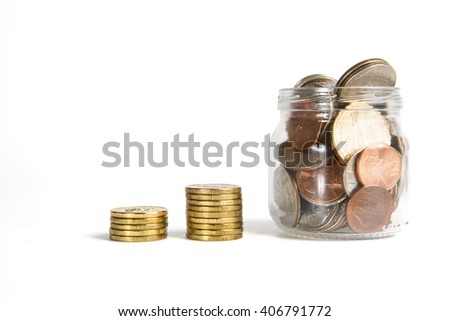 Business chart is made from golden ruble coins and jar with american coins, shows an increase, isolated