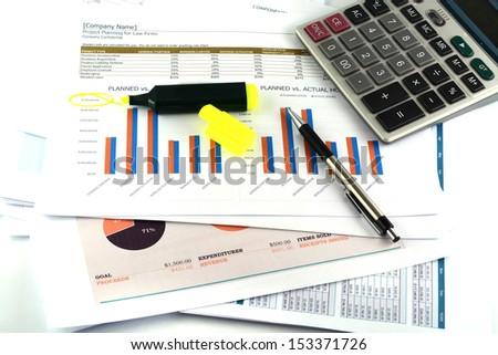 business chart report - stock photo
