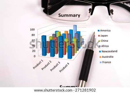 business chart report, business paper - stock photo