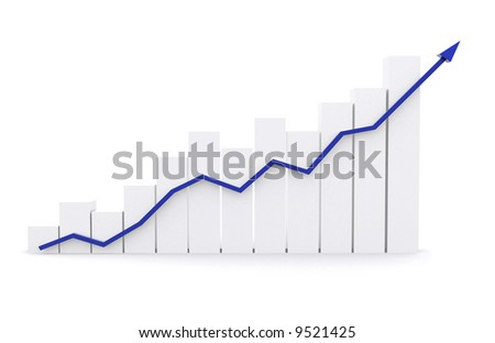 business chart representing growth and success - isolated over a white background