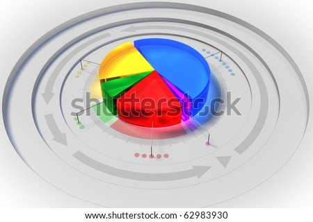 Business chart (sertor pie) - stock photo