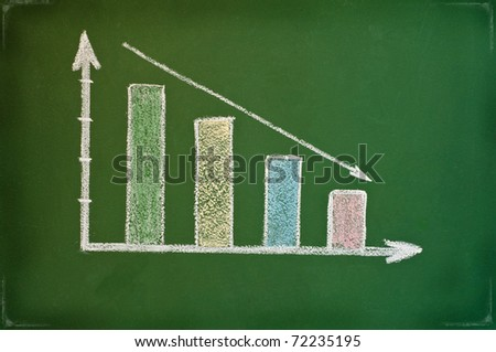 business chart showing financial crisis at the stock market - stock photo