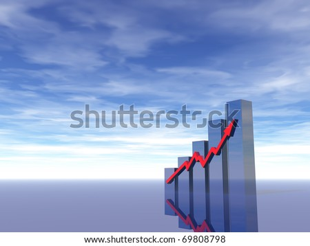 business chart under blue sky - 3d illustration - stock photo