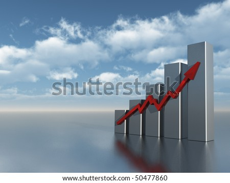 business chart under cloudy blue sky - 3d illustration - stock photo