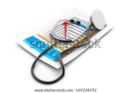 Business chart with stethoscope - stock photo