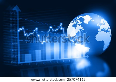 business chart with world		 - stock photo