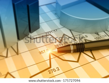 Business charts and graphs as concept - stock photo