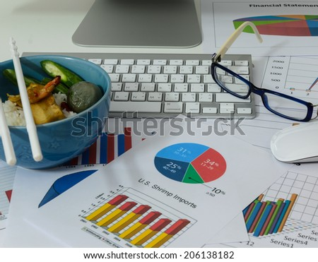 business charts or graphs and lunch with keyboard vintage style