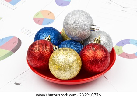 Business Christmas of a tables, saucer, balls - stock photo