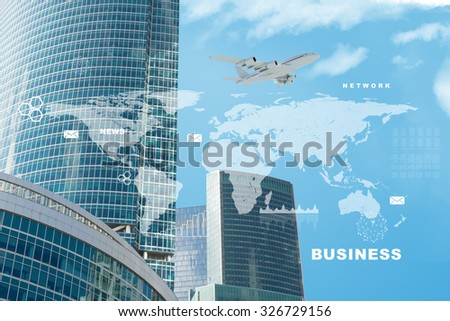 Business city with world map and jet on blue sky background - stock photo