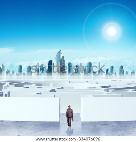Business cityscape with labyrinth and colorful sky - stock photo