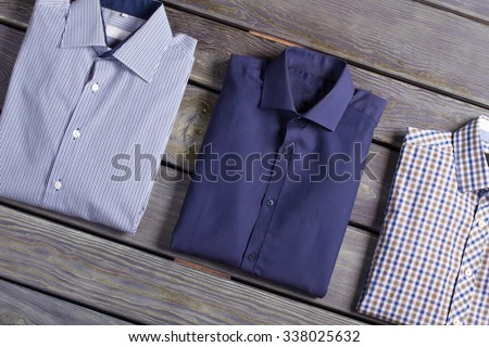 Business classic men's shirts with different prints. - stock photo