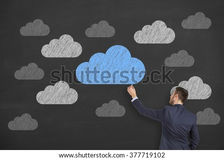 Business Cloud Computing on Chalkboard - stock photo