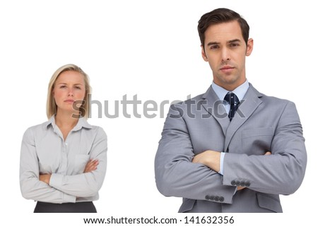 Business co workers standing together on white background - stock photo