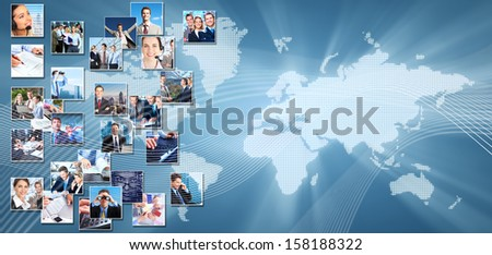 Business collage background. Media and communication technology background. - stock photo