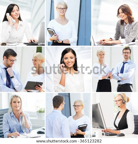 Business collage. Collection of photos about communication and office workers. - stock photo
