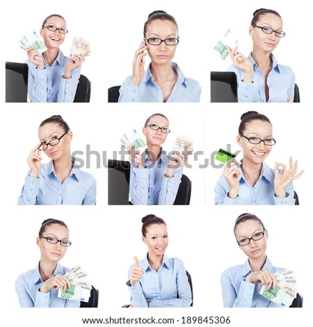 Business collage. Different businesswoman portraits on white - stock photo
