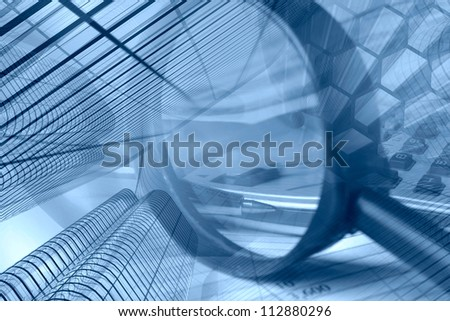 Business collage in blues with buildings, pen and magnifier. - stock photo