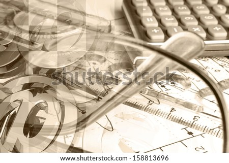 Business collage in sepia with calculator, ruler and graph. - stock photo