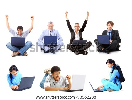 Business collage made of men with laptops - stock photo