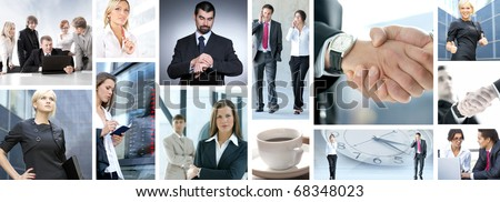 Business collage made of nine business pictures