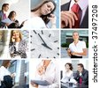 Business collage made of nine business pictures (Warning! There is no focus on the central picture!) - stock photo