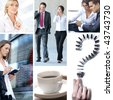 Business collage made of some business pictures. It illustrates stock marketing, real estate, technology, relations, time and money. - stock photo
