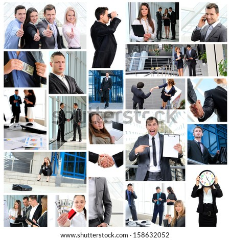 Business. Collage with a lot of different business people working together - stock photo