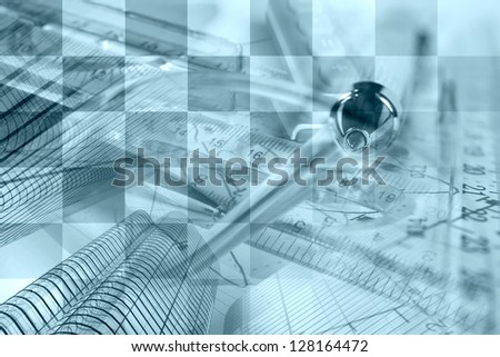 Business collage with pen, ruler and graph, blue toned. - stock photo