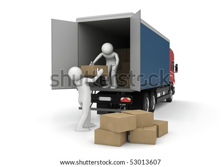 Business collection - Loaders with cargo boxes - stock photo