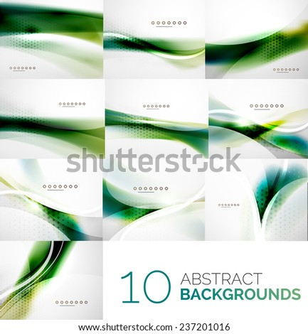Business collection of flowing wave corporate abstract background, flyer, brochure design template - stock photo
