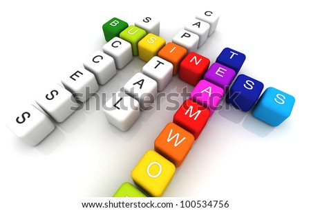 Business colorful box Crossword 3D render - stock photo