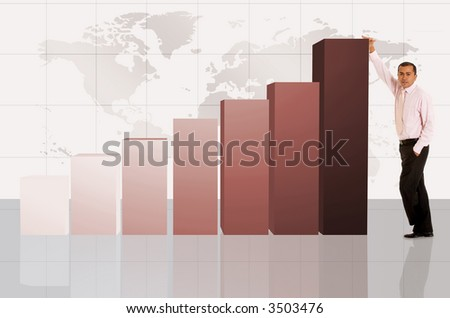 business column chart with a businessman next to it