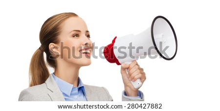 business, communication and office concept - smiling businesswoman with megaphone - stock photo