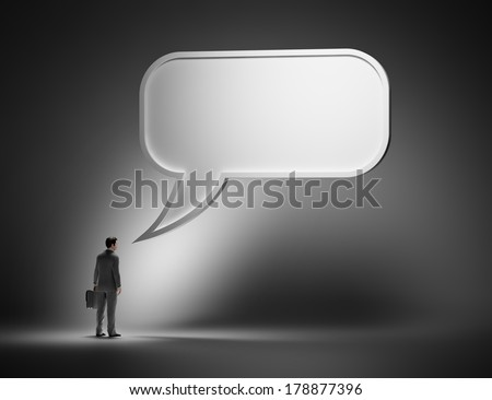 Business communication concept - man with a speech bubble