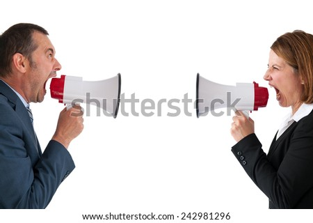 business communication conflict concept - stock photo