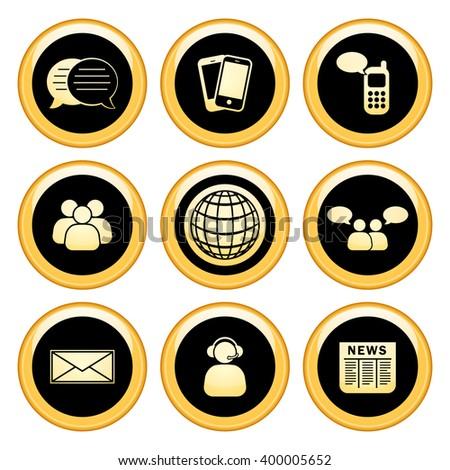 Business & Communication Icons Gold Icon Set. Raster Version - stock photo