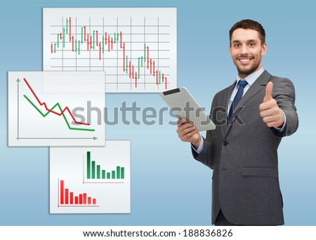 business, communication, modern technology and office concept - smiling buisnessman with tablet pc computer showing thumbs up - stock photo