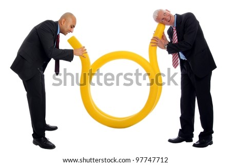 Business Communication  with a yellow tube and two men