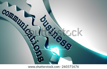 Business Communications on the Mechanism of Metal Gears. - stock photo