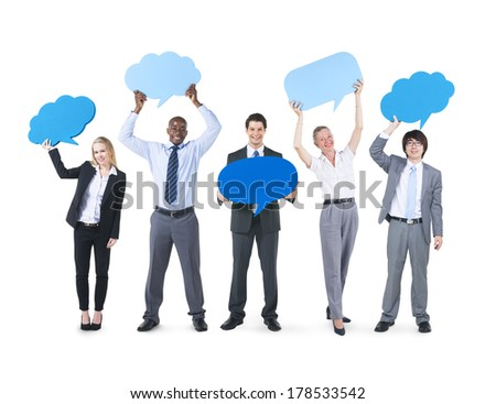 Business Communications with Speech Bubbles - stock photo