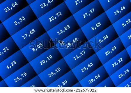 Business company financial balance Stock Quotes at real time at the stock exchange. business data stock screen and graph. Financial and stock exchange data on computer screen. Shallow DOF effect.  - stock photo