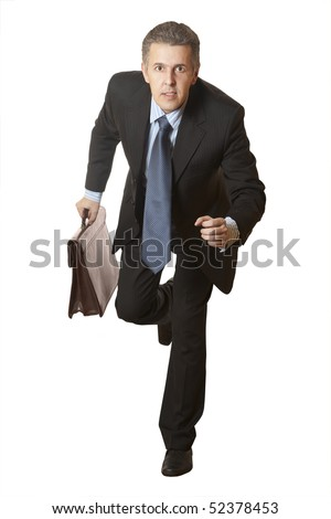 Business competition. Businessman running with a briefcase - stock photo