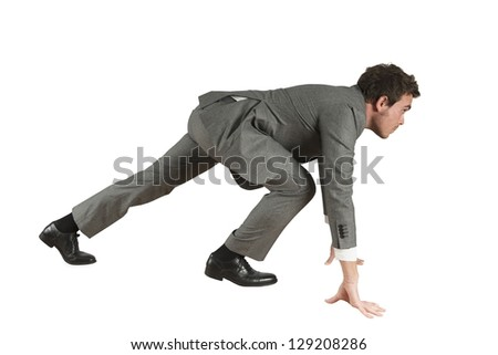 Business Competition with businessman ready to start - stock photo