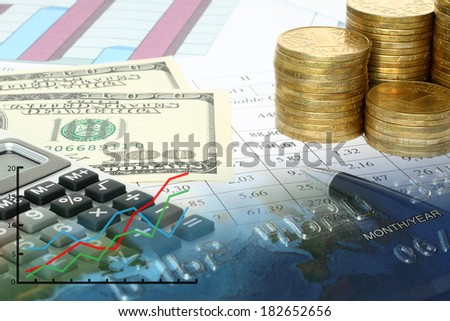 Business composition of graphs, tables, money and pen close-up   - stock photo