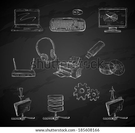Business computer icons set of desktop mobile notebook network router and printer hand isolated  illustration sketch on chalkboard - stock photo